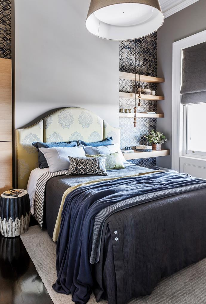 A melange of striking patterns and textures. Headboard in an Etamine fabric from Zimmer+Rohde. Smart buy: 'Tapestry' wallpaper in Indigo, $72/m, Quercus & Co. Linen, Sheets On The Line.