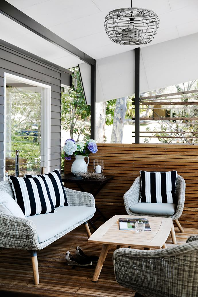 The new alfresco area has defined living and dining zones. For similar chairs and table, try Remarkable Furniture. Smart buy: 'Stripe' outdoor cushions in Black, $45 each, from Domayne.
