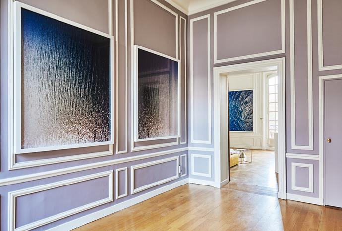 The original purple painted walls. Artworks by French/American Antoine Wagner.