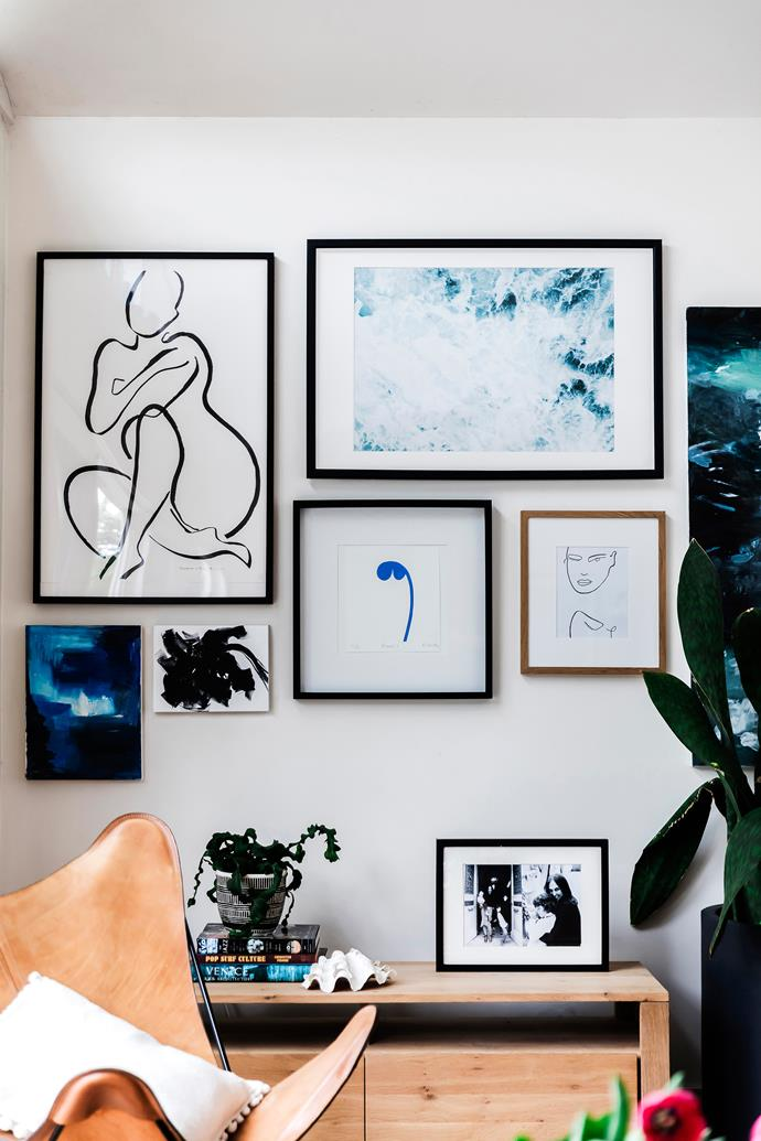 Local hero Petalé 2 by Rachel Castle takes centre spot on the living room wall, along with a Sefton & Segedin print, top left.