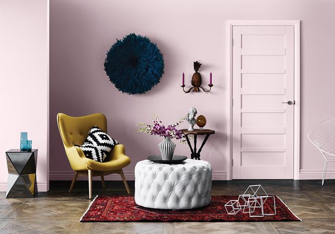 """Hello Millennial Pink! Take colour blocking a step further by painting your door, door frame and adjoining wall in the same standout hue. Photo: [Corinthian Doors](https://www.corinthian.com.au/Products/Doors/Interior/Moda-Internal-Range/Moda-PMOD15