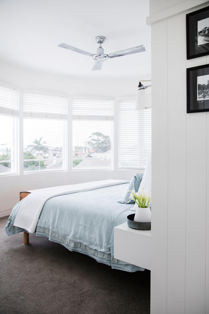 "The curves of the ground-floor front room have been replicated in James and Katie's bedroom above. ""Going up a level was more expensive than extending at the rear, but the views the house now enjoys are well worth it,"" says Brooke."