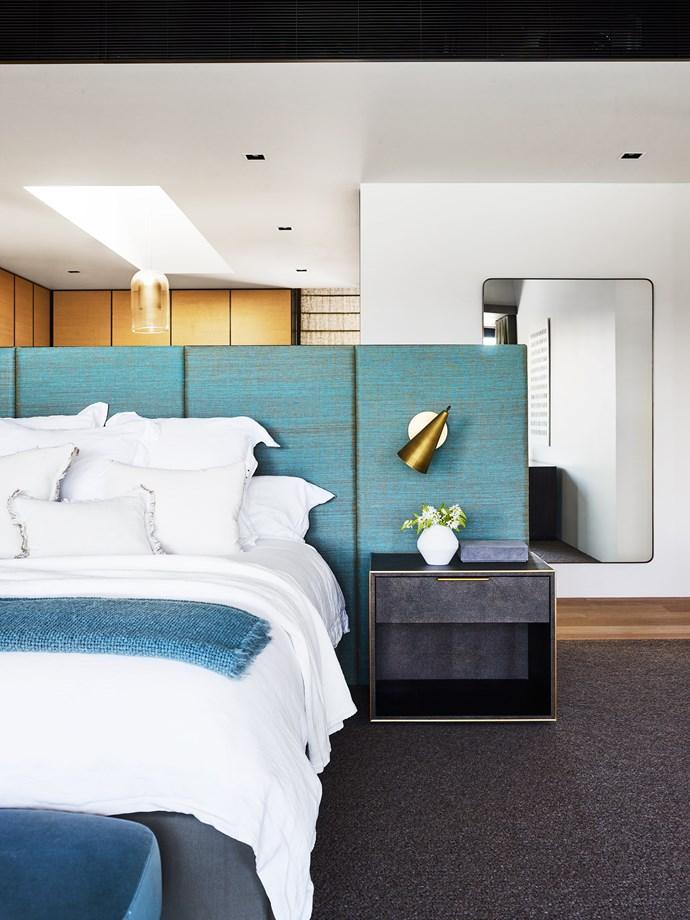 Bedhead panels upholstered in Jim Thompson 'Isan' linen silk from Milgate.