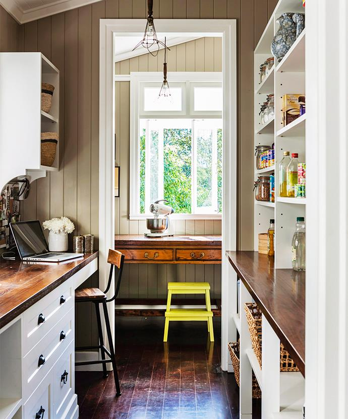 Kitchens are beginning to accommodate technology, becoming a space where we can place a computer to pay bills and check recipes and emails. A narrow space is often just enough for a small bench and a statement stool. *Photo: Maree Homer / bauersyndication.com.au*