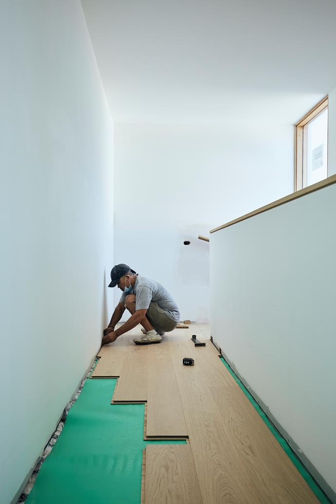 """**APRIL 23, 2018: TIMBER FLOORS IN PLACE** <br><br> Installers have been hard at work at My Ideal House, completing in one day the task of putting down its beautiful timber floors. [Quick-Step's](https://www.quick-step.com.au/en-au/