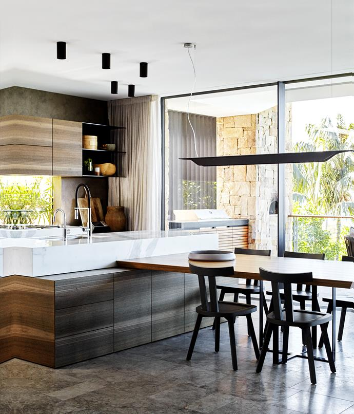 Joinery: Eveneer 'Aged Lava Gum' natural veneer with matt finish by Scotts Kitchens. Benchtop/island bench: Calacatta Oro marble from Granite & Marble Works. *Photo: Jen Wilding*