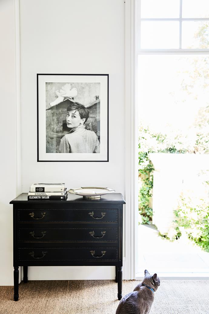 "The dresser in Lizzie's home office came from her family home. ""I convinced Mum to 'lend' it to me a few years ago,"" she tells. ""And I've always been obsessed with Audrey Hepburn – a group of friends gave me this framed picture for my 30th birthday."""
