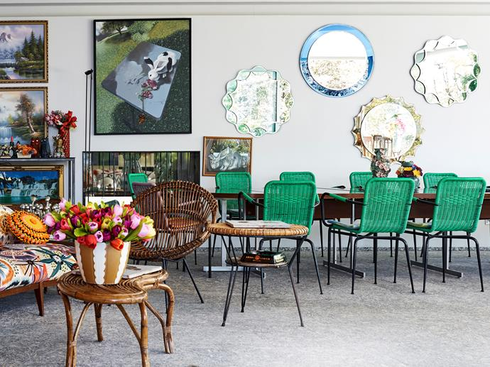 Family matters In the covered terrace overlooking the pool, a generous dining setting caters for 14 people – the extendable table came from a flea market while the vintage plastic chairs have been painted emerald green.