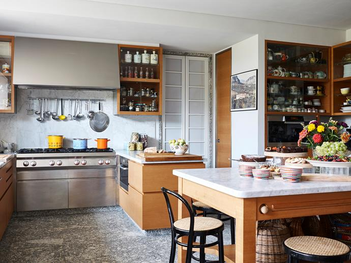 "The kitchen offers spectacular views. ""From here you can see trees, mountains and the lake,"" she says. Missoni tableware featuring the label's trademark prints gets regular use."