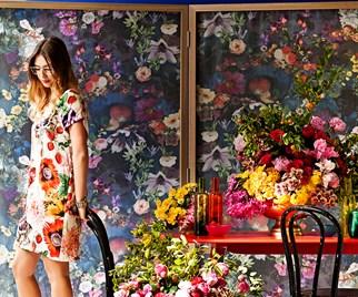 Florist Aleksandra Schutz and flower arrangements