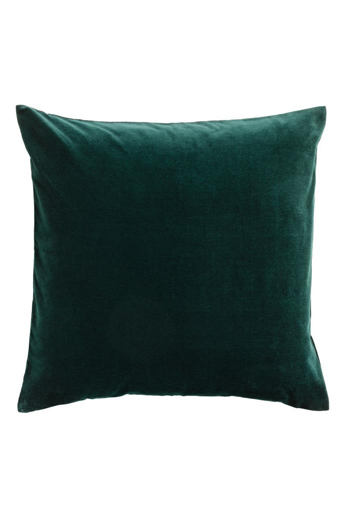 """Velvet **cushion cover**, $12.99, from [H&M](https://www.hm.com/au/product/60916?article=60916-K target=""""_blank"""" rel=""""nofollow"""")."""