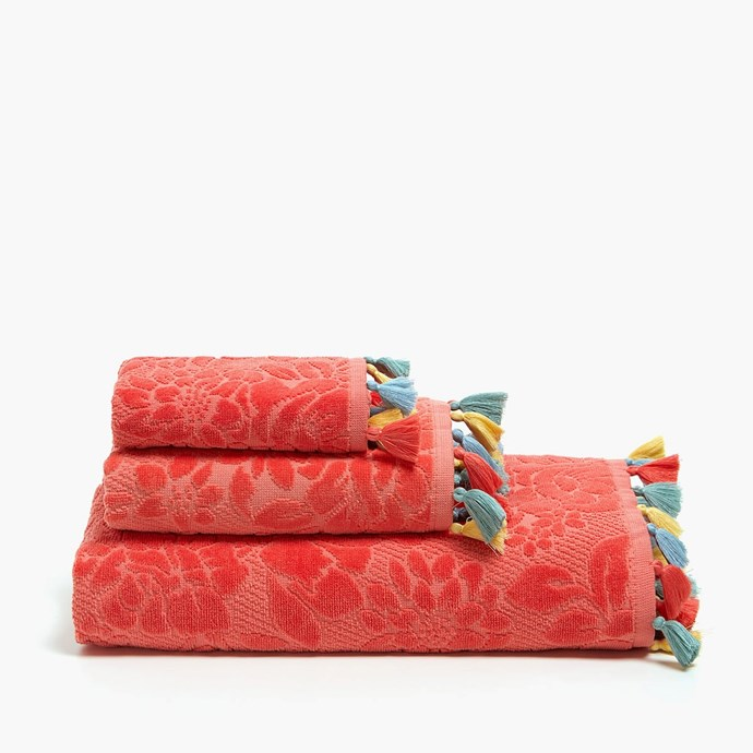 "Velvet cotton **towel** with tassels, $7.95-$49.95, from [Zara Home](https://www.zarahome.com/au/bathroom/towels/velvet-cotton-towel-with-tassels-c1020116646p300480812.html?colorId=649&parentId=300486054 target=""_blank"" rel=""nofollow"")."