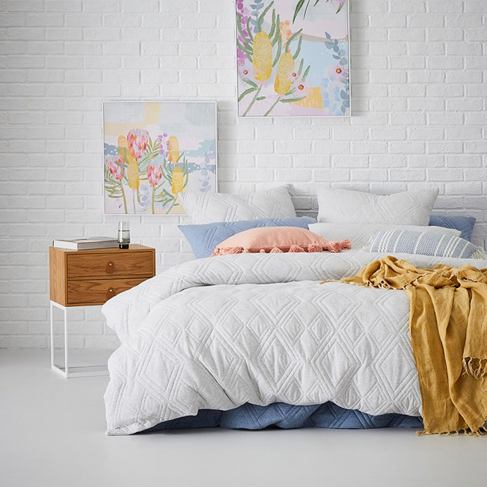 """Home Republic Jaxon quilted jersey **quilt cover** cloud, from $59.99, from [Adairs](https://www.adairs.com.au/bedroom/quilt-covers-coverlets/home-republic/jaxon-quilted-jersey-quilt-cover-cloud/ target=""""_blank"""" rel=""""nofollow"""")."""
