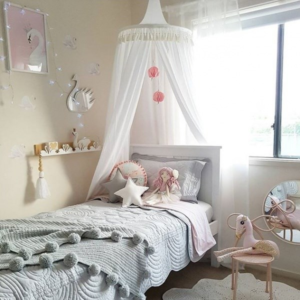 """Children's bed canopy in white, pre-order sale $79.00, from [Freddie & Ava](http://freddieandava.com.au/product/white-canopy/ target=""""_blank"""" rel=""""nofollow"""")."""