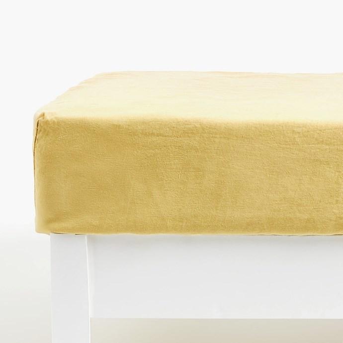 "Lemon yellow linen **bottom sheet**, from $89.95, at [Zara Home](https://www.zarahome.com/au/bedroom/fitted-sheets/lemon-yellow-linen-bottom-sheet-c1020116859p300477470.html?colorId=522&parentId=300481984 target=""_blank"" rel=""nofollow"")."