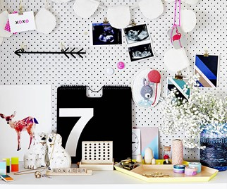 White Peg board and knickknacks in a kids' bedroom