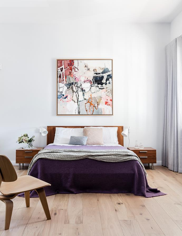 """Most of our artworks - including this amazing piece by Leah Thiessen - are abstract and colourful, which is the perfect counterpoint for our minimalist interior,"" says Carmel."