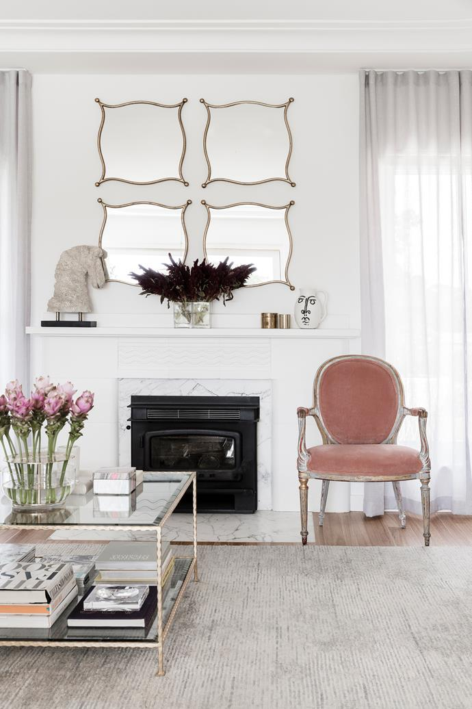 The mantelpiece is one of the surviving original features in this '40s home.