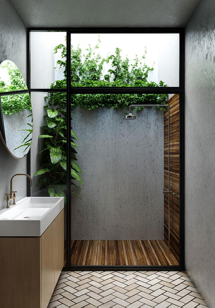 "**Make your space work harder.** Dreamy outdoor showers shouldn't be reserved just for tropical resorts. Here, an Aussie bathroom has been transformed in to a private paradise complete with mood-enhancing greenery. By using [Laminex® Impressions™ textured surfaces](http://www.laminex.com.au/products.php#!/walls-and-panels/impressions-textured-surfaces-/|target=""_blank""