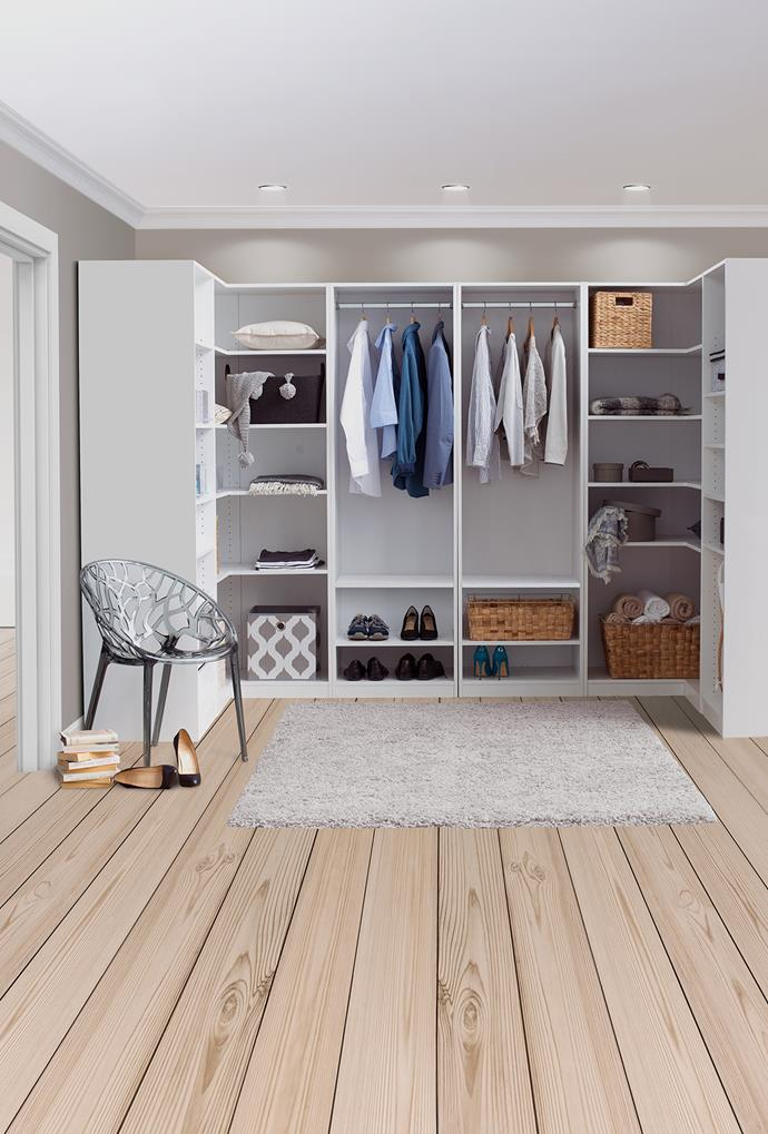 """Long hanging space ensures clothes aren't crushed or ruined. Instead of cramping clothes into one segment, look to expand and utilise side-wall space as seen in this wardrobe. Stores such as [**Bunnings**](https://www.bunnings.com.au/our-range/storage-cleaning/storage/wardrobe target=""""_blank"""" rel=""""nofollow"""") make it easy to fit-out both existing and new wardrobe spaces with a range of storage inserts and accessories. You can pick and choose pieces based on your own room shape and space needs. *Photo: supplied*"""