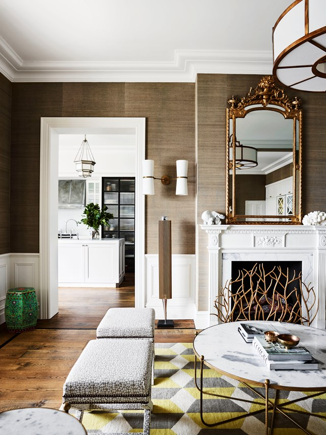 """This luxurious living room in a [home in Sydney's eastern suburbs](https://www.homestolove.com.au/a-spanish-mission-style-homes-hollywood-glamour-update-6677