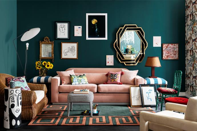 Claire Johnston 'Claire Pony' stool, $888, from Totem Road. Ligne Roset 'Solveig' floor lamp, $1425, from Domo. Gallery wall, Gilded wall mirror, $1650, from The Vault. Portrait 