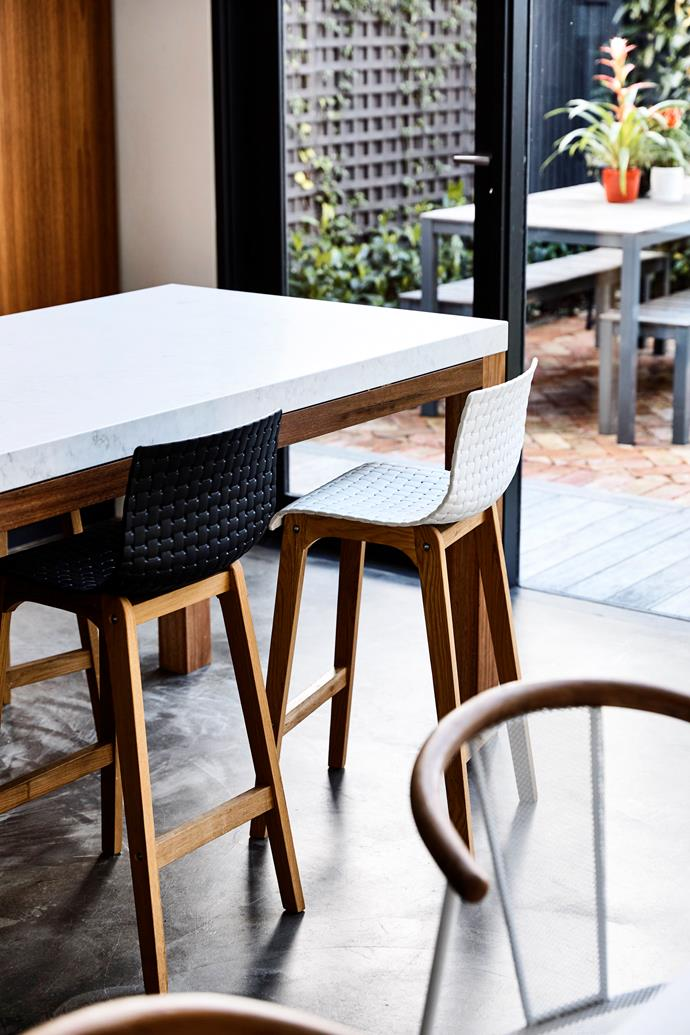 Anna and Tom chose charcoal concrete flooring as it is easy to clean and durable.