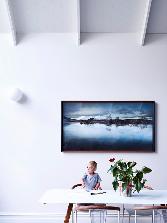 An emotive artwork fills the void in this lofty inner-city home. *Photo:* Derek Swallwel