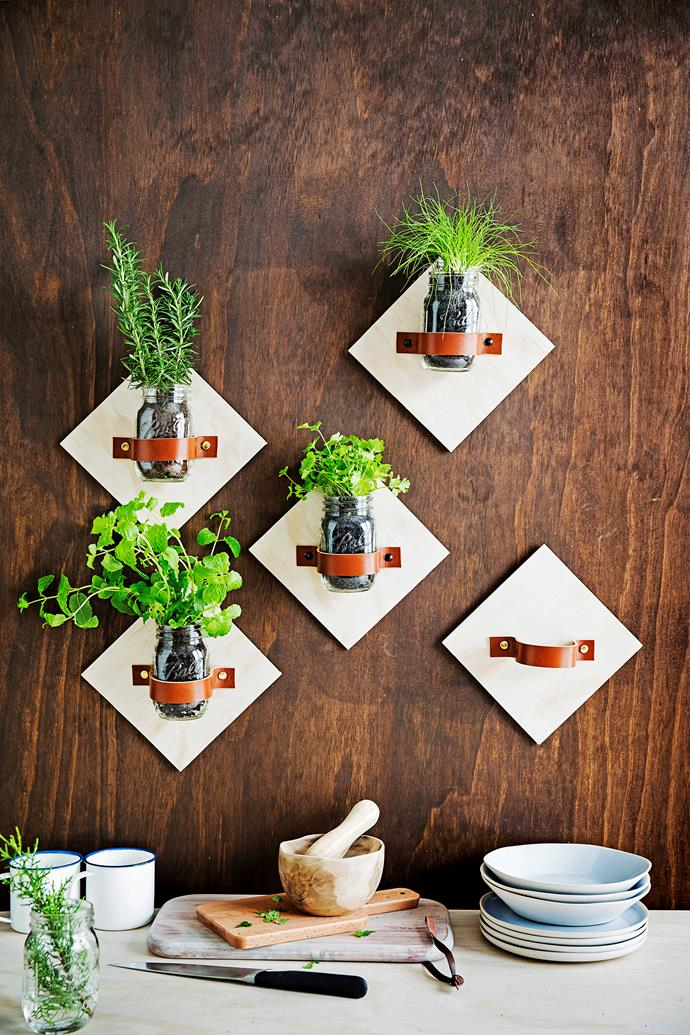 """Put your old jam jars to good use with this crafty and clever [DIY kitchen herb garden](https://www.homestolove.com.au/how-to-make-a-jar-kitchen-garden-3394
