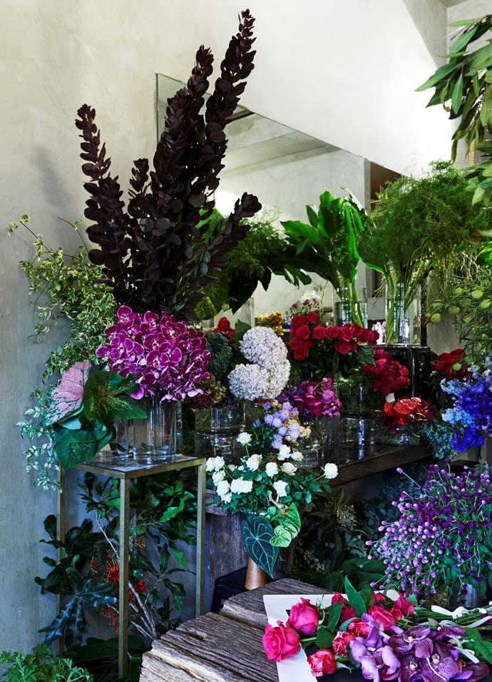 The shop is a constantly changing scene – as flowers get bought, the displays get rearranged. The mirrors add to the backdrop, echoing the flowers and enhancing the feeling of floral abundance.