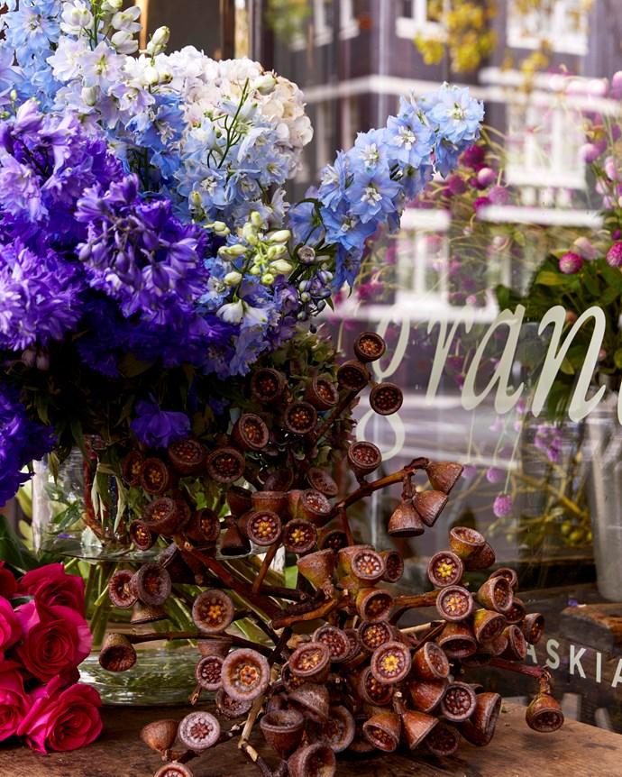 Saskia often incorporates distinctly Australian elements, like gumnuts, into her floral arrangements.