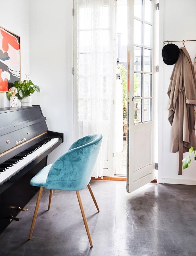 """The music room is a hive of activity during the day, while Cecilie works on writing her music. """"My daughter Philippa also plays an instrument. She sits by the piano and plays the ukulele,"""" Cecilie says."""