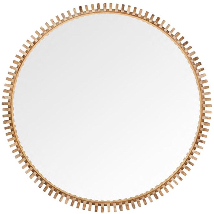 "'Cog' **mirror** in teak frame, $495, from [Weylandts](https://www.weylandts.com.au/product/cog-round-mirror-teak-accmirr0209/|target=""_blank""|rel=""nofollow"")."