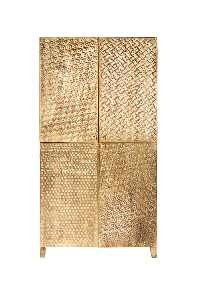 "Timber **cupboard** with embossed brass front, $3200, from [Nomadique](https://www.nomadique.com.au/product/embossed-brass-cupboard-brass/|target=""_blank""