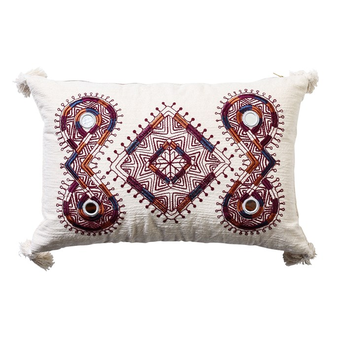 "'Lotus' **embroidered cushion**, $80, from [Few & Far](https://www.fewandfar.com.au/products/lotus-cushion-natural|target=""_blank""