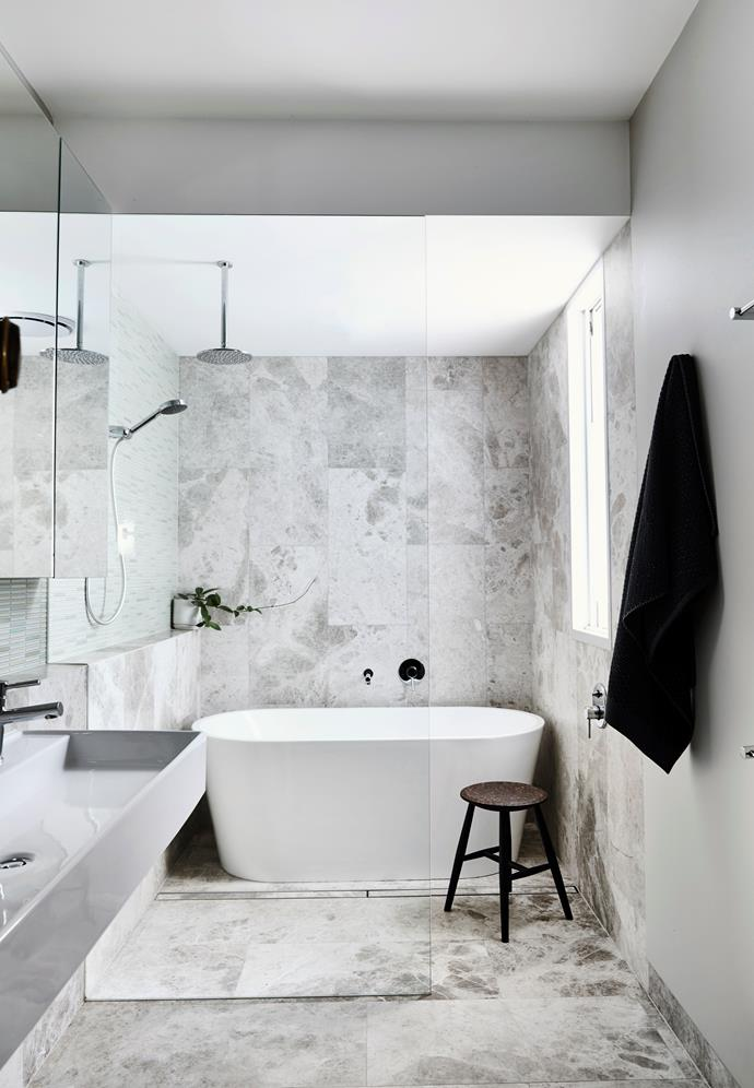 "This space was extended by almost a third to accommodate the luxurious freestanding bath, which was sourced from [eBay](https://www.ebay.com.au/itm/Bathroom-Acrylic-Free-Standing-Bath-Tub-Thin-Edge-1500x700x580-Freestanding/191791413030?hash=item2ca7a8b726:g:vCMAAOSwtXta9ons|target=""_blank""