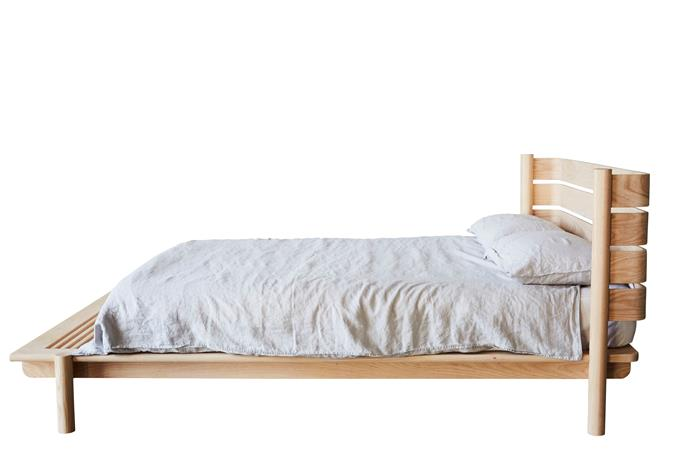 """'Title 04' queen-size white ash **bed**, from $8580, [Mast Furniture](https://mastfurniture.com.au/portfolio/title-bed-04