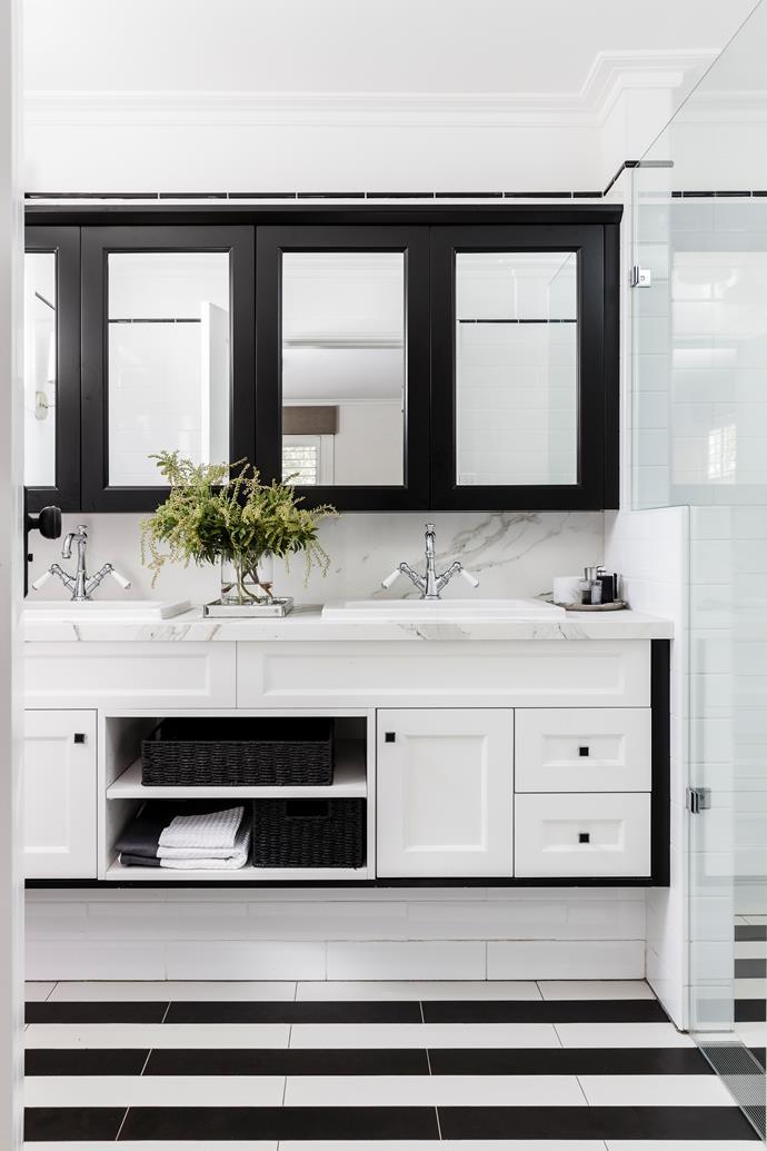 Black and white is a classic bathroom colour scheme.