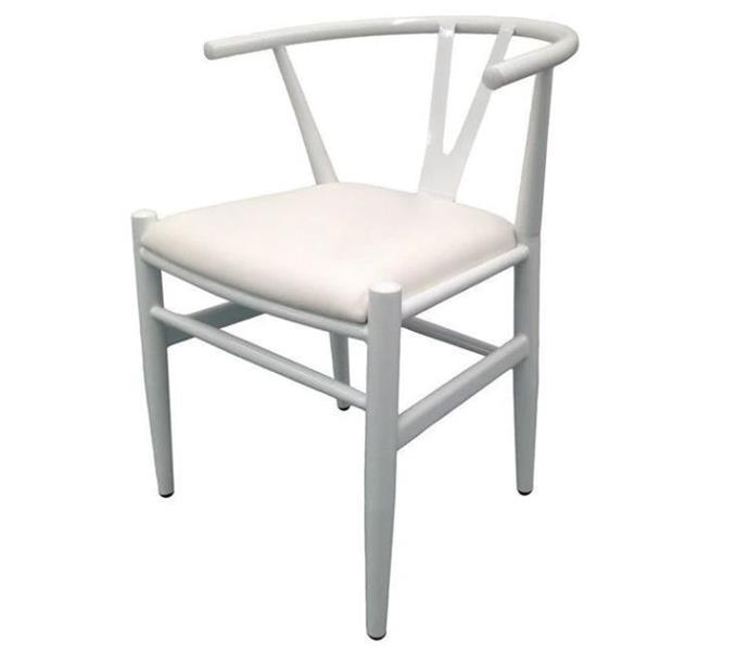 """Wishbone Dining Chair in white metal, $49, from [The Myer Market](https://market.myer.com.au/a/indoor-dining-chairs/innovatec/vic/dingley-village/wishbone-dining-chair-white/100034144