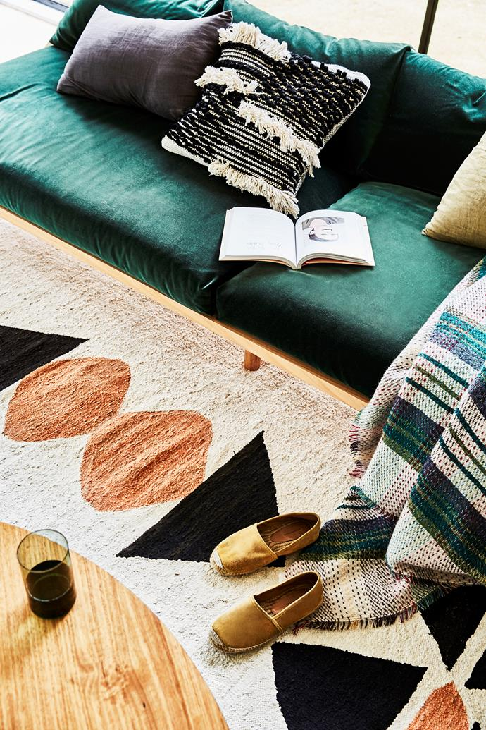 Lauren chose a Jardan rug, recycled wool throw from the National Trust Shop in the UK and one of her own cushions to ramp up the comfort stakes in the living space.