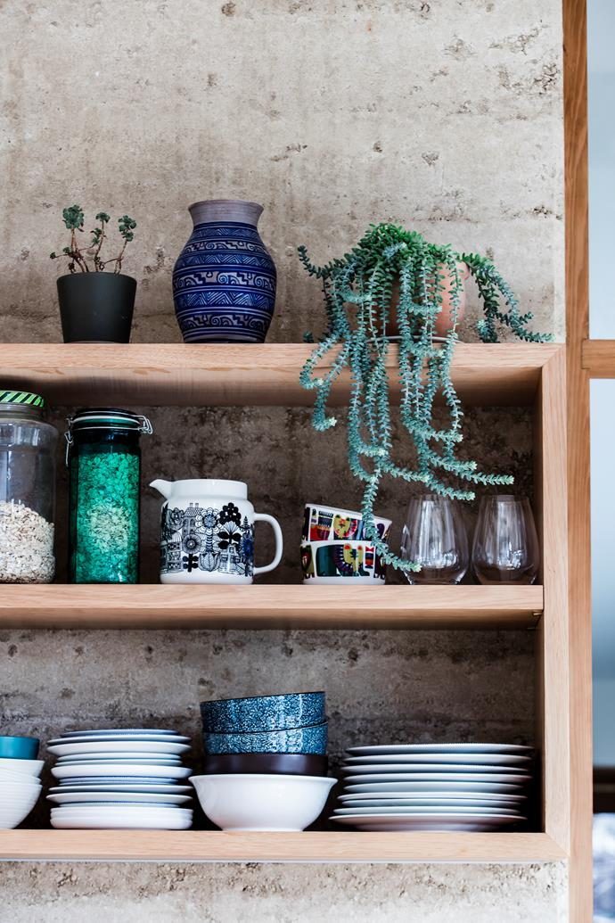 "Shelves in the kitchen display a [Marimekko](https://www.marimekko.com/au_en/|target=""_blank""