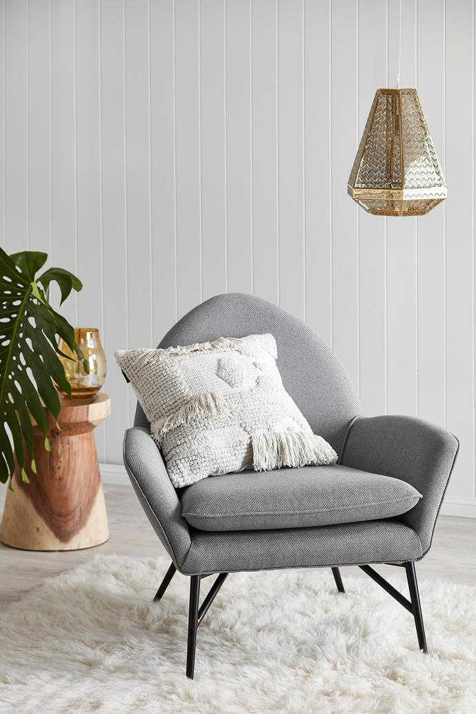 "Cement Grey Memphis Armchair, $249, [Temple & Webster](https://www.templeandwebster.com.au/Cement-Grey-Memphis-Armchair-LY000069-TPWT2385.html  |target=""_blank"") and Mushroom Stool, $239."