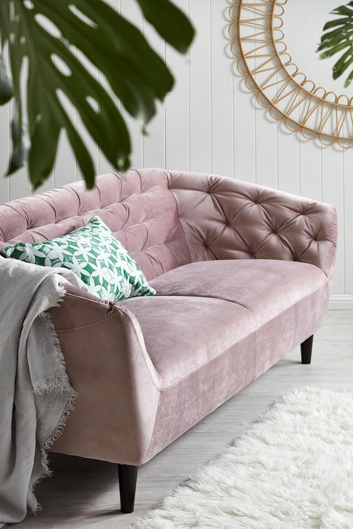 "Dusty Rose Studio Tufted 2 Seater Velvet Sofa, $799, [Temple & Webster](https://www.templeandwebster.com.au/Dusty-Rose-Studio-Tufted-2-Seater-Velvet-Sofa-AT0065R-OWCO2002.html|target=""_blank"")."