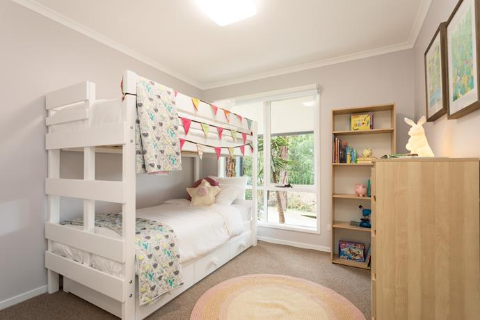 One of the compromises made by the couple was to have their two daughters share a bedroom. The bunk beds were a hit with the kids and leave plenty of floor space free for play.