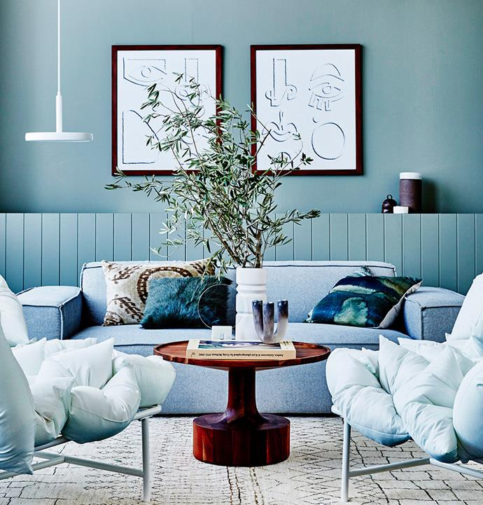 Contrasting similar colour tones with white and black lends this room an eclectic yet sophisticated feel. *Image: Kristina Soljo/Bauersyndication.com.au*
