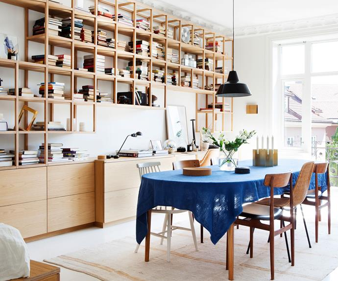 Dining room with custom open timber shelving