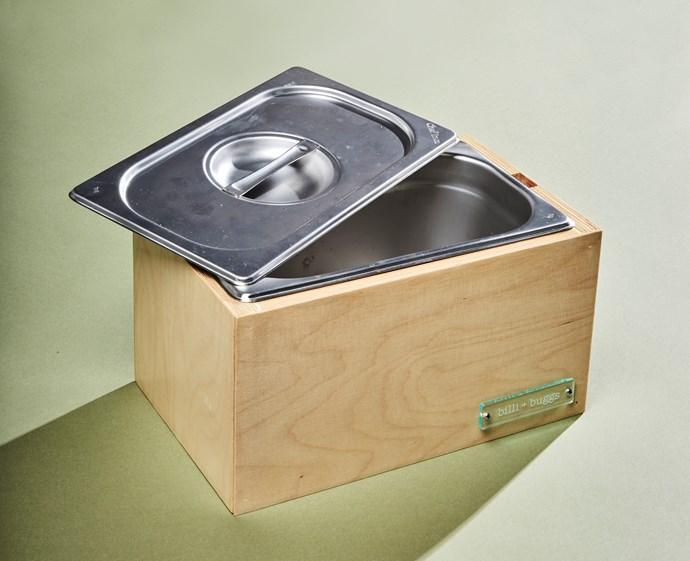 Natural kitchen green bin, $135, Billi and Buggs.