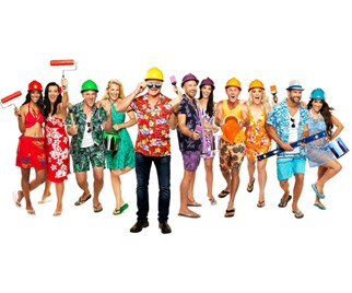 The Block host Scott Cam and the contestants in Hawaiian themed clothing