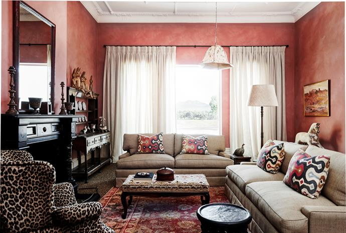 In the pink sitting room, sofas in Pierre Frey 'Shanghai' from Milgate. Paint finish by Ben Dethridge Painting.