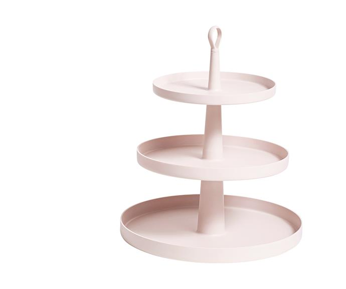 "Host your own high tea using the Ommo 'Tiers' cake stand in Suede, $49.95, from [H&G Designs](http://handgdesigns.com/|target=""_blank""